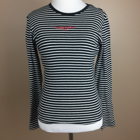 Vintage Guess Black White Striped Embroidered Tee
